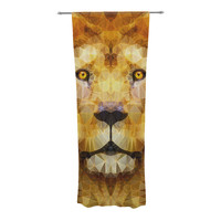 "Ancello ""Lion King"" Yellow Brown Decorative Sheer Curtain"