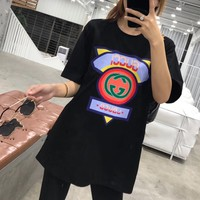 """""""Gucci"""" Women Casual Fashion Letter Triangle Pattern Short Sleeve T-shirt Top Tee"""