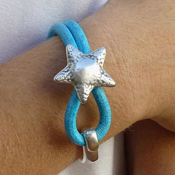 Antiqued Silver Starfish Turquoise Licorice Leather Cuff Bracelet