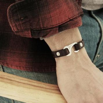Leather Bracelet with Hook Closure