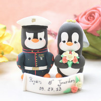 Wedding cake toppers Military Penguins - Marine Army uniform - with hat and banner