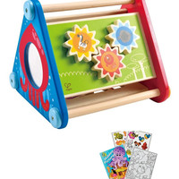 Hape Take-Along 5-Sided Wooden Activity Box with Kids Coloring Book