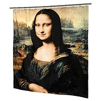 Louvre Collection Mona Lisa Design Fabric Shower Curtain Size: 70 inch  x 72 inch