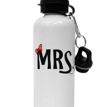 Matching Mr and Mrs Design - Mrs Bow Aluminum 600ml Water Bottle by TooLoud