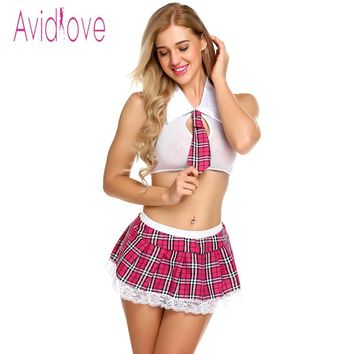 Avidlove Women Sexy Cosplay Lingerie Schoolgirl Student Plaid Uniform Costumes Outfit alter Bra + Mini Skirts Sexy Lingerie Hot