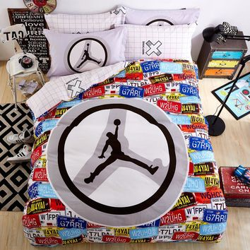 100%Cotton Jordan Basketball Fashion Queen Bedding sets Bed sheet Duvet cover Pillowca