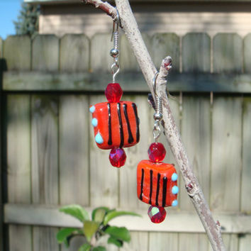 Hand Made Earrings Red Hand Made Bead with Red Crystals