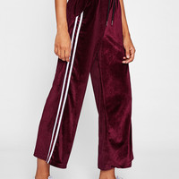 Striped Tape Side Velvet Wide Leg Pants -SheIn(Sheinside)
