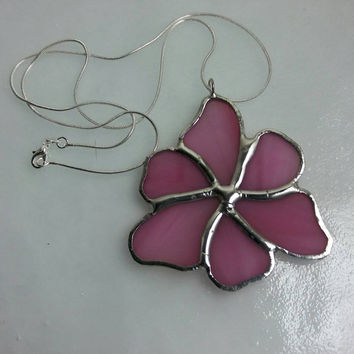 Pink Flower, Pink Pendant, Pink Stained Glass Pendant, Stained Glass Necklace, Stained Glass Jewelry, Unique Statement Necklace