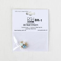 Blue Rosebud and Butterfly Cluster Reusable Nail Charm
