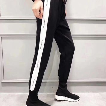 balenciaga women all match casual show thin fashion multicolor letter stripe leisure pants sweatpants trousers 2