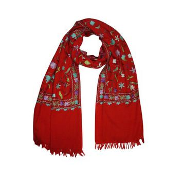Mogul Kashmiri Shawl Woolen Crewel Floral Embroidered Ethnic Indian Scarves Stole Wrap For Womens - Walmart.com