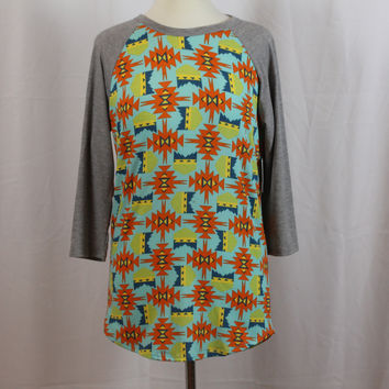 LuLaRoe Randy Shirt Teal with Multi-Colored patterns and Heathered Grey Sleeves M RAN-1