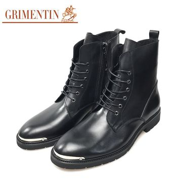 Fashion Zip Men Mid Calf Boots High Quality Leather Black Men Business Shoes Lace Up