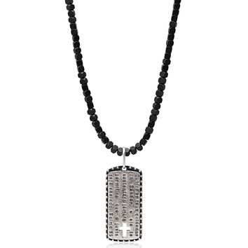 Men's Hematite Necklace with Cross Tag Pendant