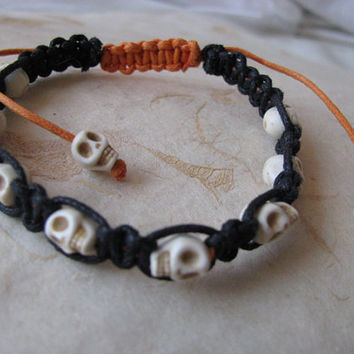 Halloween Skull Macrame Bracelet, Tiny Ivory Skull Bracelet, Black and Orange Halloween Bracelet, Adjustable