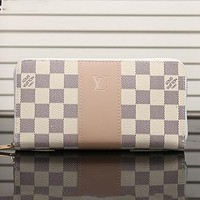 LV Louis Vuitton New fashion tartan leather wallet purse handbag White
