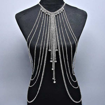 New Women Silver Multilayer Tassel Body Chain Necklace
