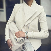 White PU Leather Jacket