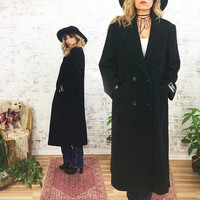 Vintage 1980s Minimalist Black Cashmere Wool Boyfriend Coat ||  Oversized Menswear Style|| Size Small Medium