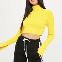 Missguided - Yellow High Neck Ribbed Crop Jumper
