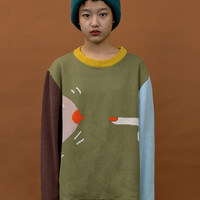 Yizi Unisex Green Oversize Sweater