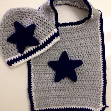Dallas Cowboys Bib and Beanie Crochet Gift Set