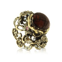 Alcozer & J Designer Rings Baroque Golden Brass with Fume Crystal and Micropearls Ring