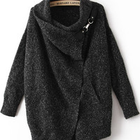 Fall Fashion Black Lapel Long Sleeve Ouch Cardigan Sweater