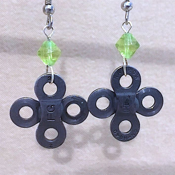 Vintage Re-purposed Simple Steampunk & Green Crystal Dangle Earrings, Handmade Original Design, Bold Unique Modern Ladies Holiday Gift Idea