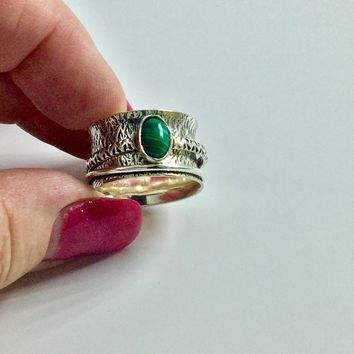 Malachite  Silver Spinner Ring size 7