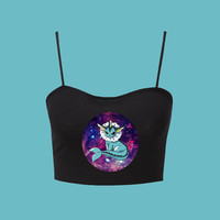 Galaxy Vaporeon Pokemon Inspired Black Tank Crop Top
