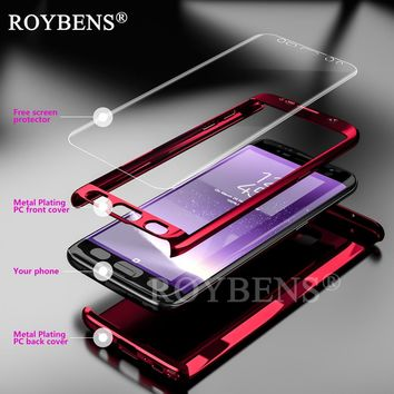 Roybens For Samsung Galaxy S7 Edge Case Mirror 360 Degree Ultra Slim Full Body Case For Samsung S7 Bling Glossy Cover Soft Film
