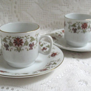 Demitasse Teacups and Saucers, Set of Two, Fine Porcelain, Vintage Teacups