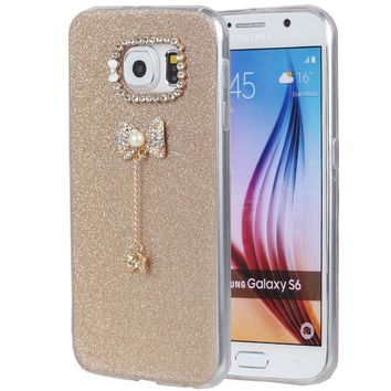 S6 Case, Galaxy S6 Case, iYCK 3D Handmade Luxury Diamond Rhinestone Hybrid Glitter Bling Shiny TPU Soft Rubber Case Cover with Sparkly Bow Knot Crystal Pendent Charms for Samsung Galaxy S6 - Gold