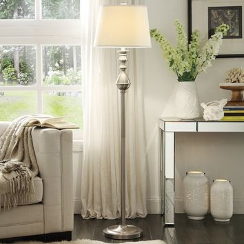 INSPIRE Q Sedgwick 3-way Satin Nickel Contoured Base 1-light Accent Floor Lamp | Overstock.com Shopping - The Best Deals on Floor Lamps