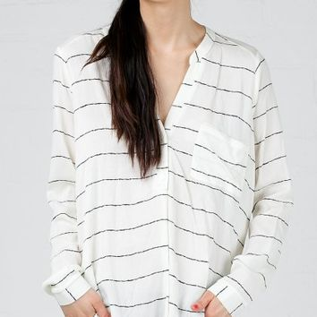 ANGL | Thin Stripe Button Gauze Blouse
