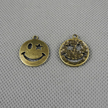 3x Making Jewellery Supply Supplies Alloys Fermoir Jewelry Findings Charms Schmuckteile Charme 4-A2805 Smiley Face