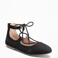 Sueded Lace-Up Flats for Girls | Old Navy