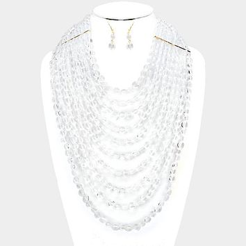 """18"""" clear multi strand layered faceted necklace 1.50"""" earrings 9"""" drop"""