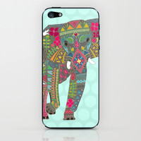 painted elephant aqua spot iPhone & iPod Skin by Sharon Turner