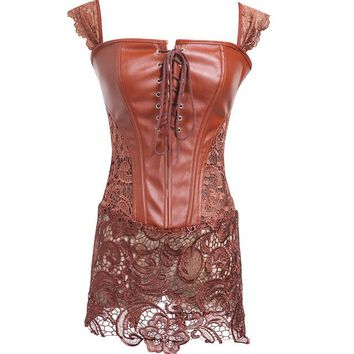Corsage Steampunk lace Corset Dress Sexy Corsets and Bustiers waist clothing  Straitjacket Gothic Plus Size Modeling Strap