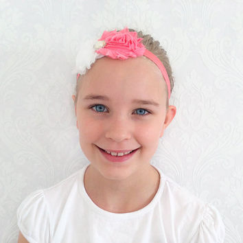 Coral/White Baby, Child Headband, Stretchy Floral Headband, Fashion Hair Accessories Shabby Chic, Infant Headband, Newborn, Baby Gift Ideas.
