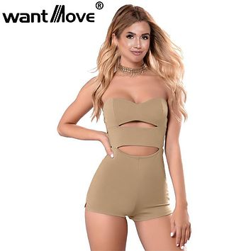 Wantmove 2017 Summer Cut Out Strapless Rompers Womens Jumpsuit Sexy Bodycon Short Jumpsuit Bodysuit Slim Romper XD908