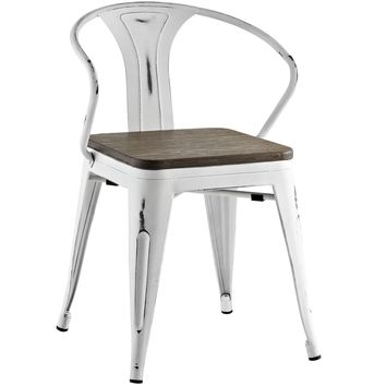 Promenade Modern Distressed Steel Dining Arm Chair