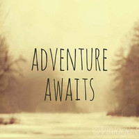 "Winter Lanscape Photograph, 8x10 Typography Print,, ""Adventure Awaits II"" Wanderlust Wall Art"