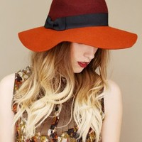 wide brimmed fedora, color block floppy hat, womens wool fedora | shopcuffs.com
