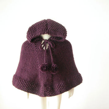 Little Girl Alpaca Cape / Purple Toddler Poncho / Baby Knit Sweater / Baby Girl Hoodie With Pom Poms / Made To Order