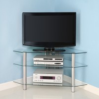 "44"" Silver Glass Corner TV Stand"