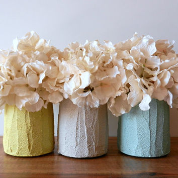 Trio of Vases / Instant collection / Pastel Home Decor / made to order/ set of 3 / yellow, grey, and mint vases
